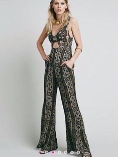 6dae125c4a6 168208 New Free People Till Tomorrow Romper Printed Cutout Jumpsuit Dress M  10  fashion