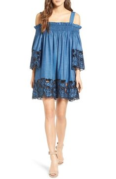KENDALL + KYLIE Embroidered Chambray Swing Dress available at #Nordstrom