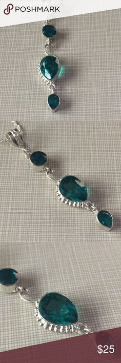 Gorgeous tsavorite Quartz drop pendant & earrings Gorgeous ocean green pendant around 3'long elegant classy sophisticated silver inlay lab chain is approximately 18' long artisan handcrafted earrings are stamped 925 approximately 1'1/2 long stunningly beautiful sea color NWOT Jewelry Necklaces