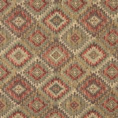 Navajo Verde Beige and Coral Abstract Chenille Upholstery Fabric