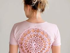 Pink rose quartz t-shirt with upcycled vintage crochet doily