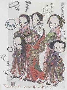 Yoshitomo Nara (Japanese, b.1959), Fuck, 1999. Marker, colored pencil and acrylic on Japanese print , 36 x 28 cm