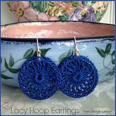 Lacy Hoop Earrings A Free Crochet Pattern | The Purple Poncho ༺✿ƬⱤღ  http://www.pinterest.com/teretegui/✿༻