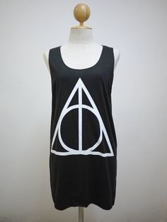 02b5b5ce1f6541 Deathly Hallows (Size M)   Harry Potter Symbol T-shirt Tank Top Tunic  Unisex Shirt Vest Women Sleeveless Men Singlet Dark Gray Black T-Shirt.
