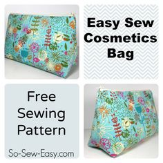 Free pattern to make and sew an easy cosmetics bag. Flat bottomed bag with a zipper. Print, cut, sew in less than 30 minutes. You'll love this makeup bag!