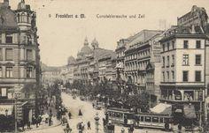 Konstablerwache am Ende der Zeil, um 1900.  Auf der rechten Seite sieht man auch die Hauptpost.