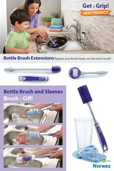 "Bottle Brush Extensions: Replace your brush heads, not the entire brush. Easy-to-fit extensions help you get hard-to-clean containers spotless. Two sizes offer the perfect fit for use with your Bottle Brush handle (sold separately). Dishwasher safe. Bottle Brush Extensions easily snap onto Bottle Brush handle to reach the bottoms of tall vases and bottles. 19.8cm x 6cm / 7.8"" x 2.4"" 26.1cm x 3.5cm / 10.3"" x 1.4"" Item #: 357013 set of 2"