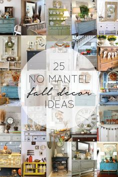25 No Mantel Fall Decor Ideas - brepurposed #falldecor #nomantel #falldecorating http://www.brepurposed.com/2014/09/23/25-mantle-fall-decor-ideas/