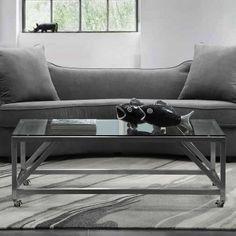 Armen Living Enessa 47 in. Rectangular Coffee Table with Wheels - LCENCOGLBS
