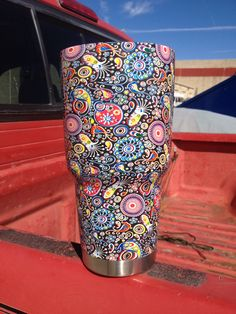 "30 oz Yeti Rambler hydrographed in ""Trippy Paisley"" L&S Hydrographics and Custom Coatings Austin, TX Acrylic Spray Paint, Yeti Cup, Cup Design, Tumbler Cups, Austin Tx, Custom Paint, Trippy, Tumblers, Cricket"