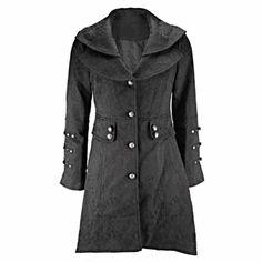 Black Vintage Inspired Brocade Coat