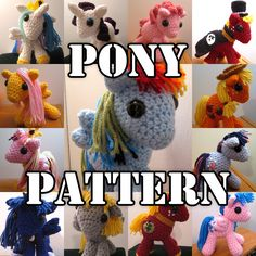 Crocheted Pony Amigurumi MLP Plush PATTERN. $7.99, via Etsy.