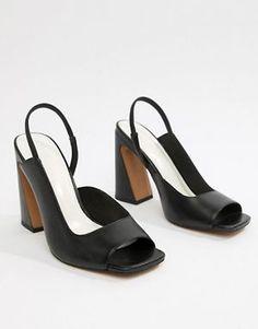 818af9623b4 ASOS DESIGN Hinton Premium Leather Heeled Sandals Block Heels