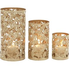 Featuring a floral openwork design in a gold-hued finish, this iron candleholder set makes a lovely dining room centerpiece and perfectly complements a vase ...