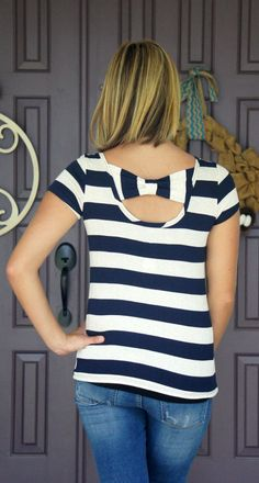 Arguably I own too much navy, but I love the bow detail of this top - Papermoon Kualo Bow Back Knit Top - Living In Yellow: Stitch Fix Reveal - #37