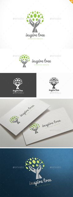 Inspire Tree: Nature Green Logo Design Template by LayerSky. Logo Inspiration, Tree Of Life Logo, Tree Logos, Logo Restaurant, Tree Silhouette, Trendy Tree, Leaves Vector, Tree Designs, Ficus Pumila