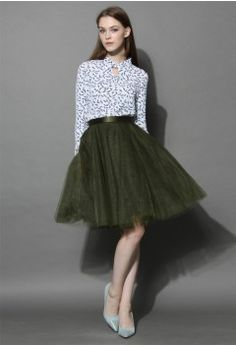 Amore Mesh Tulle Skirt in Olive - Skirt - Bottoms - Retro, Indie and Unique Fashion