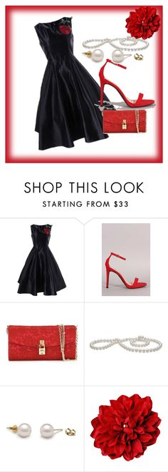 Life of the Party Dressy Ensemble by sensualshoesandclothingboutique.com - Stand out as the life of the #holiday #party in this #beautifully #exquisite #black #aline #flare dress, adorned with a statement red flower. Add a beautiful red #clutch and #fabulous #ankle strap #heels . By all means, we must not forget the elegant pearls to make your ensemble complete.