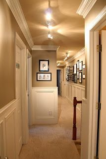 hallway with wainscoting, crown molding and portrait gallery. Love the wall colors and contrast with the wainscoting Style Deco, Interior Decorating, Interior Design, Decorating Ideas, My New Room, Home Fashion, My Dream Home, Home Projects, Paint Colors