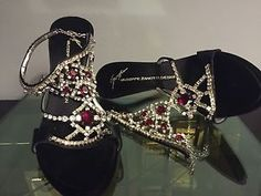 Giuseppe Zanotti sandals with diamonds and rubins type stones. is now available in a very low prized auction. Jeweled Sandals, Giuseppe Zanotti, Flip Flops, Shoes Sandals, Pairs, Jewels, Elegant, Diamonds, Auction