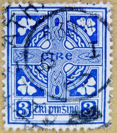 Eire | beautiful stamp Eire 3p blue Celtic cross Ireland timbre croix ...