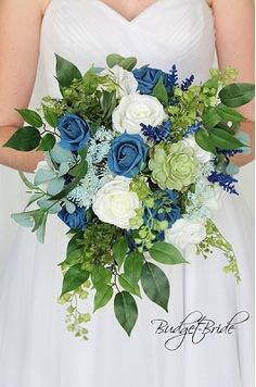 Peacock Blue wedding flower brides bouquet with orchids calla lilies peonies hydrangea eucalyptus lambs ear and greenery Blue Flowers Bouquet, Bridal Bouquet Blue, Succulent Bouquet, Blue Wedding Flowers, Bride Bouquets, Flower Bouquet Wedding, Floral Wedding, Wedding Colors, Wedding Ideas