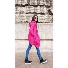 New Lined Warm Asymmetric Extravagant Hot Pink Hooded Coat Quilted... ($115) ❤ liked on Polyvore featuring outerwear, coats, black, sweatshirts, women's clothing, wrap coat, asymmetrical coat, cotton coat, hooded coat and hooded quilted coat