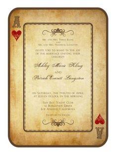 Retro zaproszenie ślubne w formie karty do gry