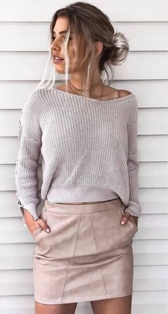 50 Flawless Summer Outfits To Wear Right Now - knit + skirt Source by sabinegreschner - Fashion Mode, Look Fashion, Womens Fashion, Runway Fashion, Fall Winter Outfits, Spring Outfits, Fall Fashion Trends, Autumn Fashion, Fall Clothing Trends