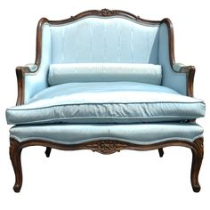 Vintage French Louis XV Style Carved Walnut Oversized Bergere Arm Chair Settee
