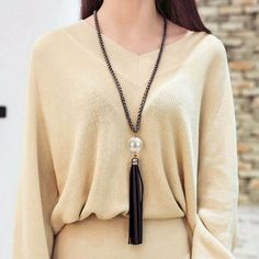 Fashion Charm Imitation Pearl Leather Tassels Big Pendant Long Chain Sweater Necklace