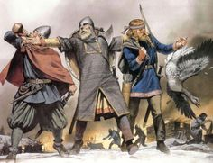 Irish Gael attack a viking raiding party. Painting by Angus ...