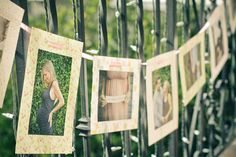 Baby shower idea, a banner with pregnancy photos..