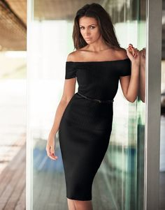 Lipsy Love Michelle Keegan Rib Belt Bardot Dress                              …