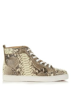 CHRISTIAN LOUBOUTIN Louis Glow-In-The-Dark Python High-Top Trainers. #christianlouboutin #shoes #sneakers