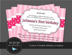 Pink Birthday Invitation - Sugar and Spice and All Things Nice - Party Printables by Just For You Printable Designs