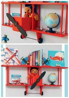 airplane bookshelf for a kid's room - would be easy to DIY too!