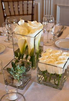 60 Simple & Elegant All White Wedding Color Ideas simple white wedding table setting decor Wedding Centerpieces, Wedding Decorations, Square Vase Centerpieces, Centerpiece Ideas, Modern Centerpieces, Simple Elegant Centerpieces, Simple Wedding Table Decorations, White Flower Centerpieces, Flower Table Decorations