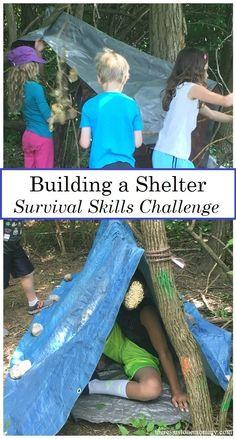 kids survival skills activities: simple outdoor challenge to build an emergency shelter #survivalskills