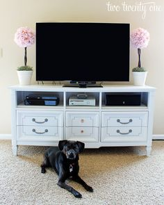 Turn your dresser into an entertainment center so you can have clothes beneath your TV.
