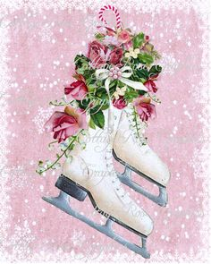Pink Christmas Ice Skates and bouquet of  roses Large digital download ECS buy 3 get one free