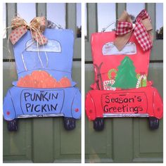 Reversible Fall/Winter Truck Door Hanger by TheeAlleyKat on Etsy