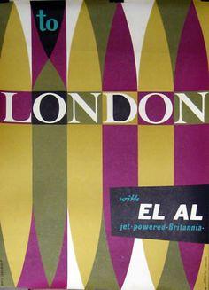 London - EL AL Airlines Britannia original travel poster Vintage Travel Posters, Vintage Airline, Pub, Travel Illustration, Ad Art, Travel Themes, Advertising Poster, Best Graphics, Typography Poster