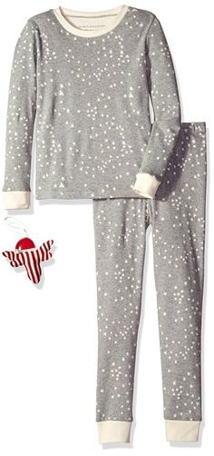 Burt's Bees Boys' Toddler Boys' Organic 2-Piece Pajama Set with Ornament, Heather Grey/Ivory Twinkle Bee, 4 Toddler