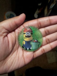 Mario Minion Magnet using my Own stickers but Chemical sunk through and ate half of picture lol
