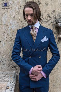 Traje de novio cruzado italiano a medida, príncipe de gales azul modelo 1203 Ottavio Nuccio Gala colección Gentleman.