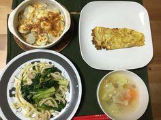 ペペロンチーノうどん 里芋チーズ焼き 納豆オムレツ スープ