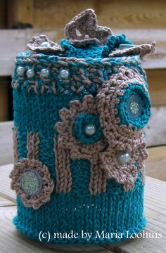 Knitting with Crochet flowers