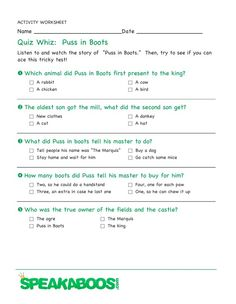 Quiz Whiz: Puss in Boots | Speakaboos #Worksheets #quiz #education #kids