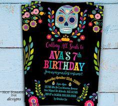 DIY Digital Sugar Skull Invitation Dia De Los Muertos Personalized - Day of the dead party invitation template